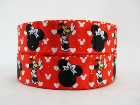 1 METRE GLITTER MINNIE MOUSE RIBBON 1INCH BOWS HEADBANDS BIRTHDAY CAKE HAIR DUMMY CLIPS #272